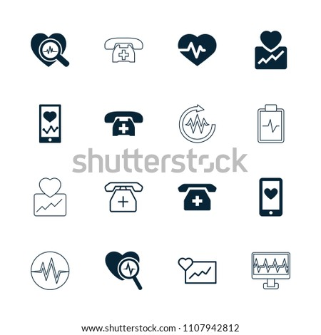 Cardiogram icon. collection of 16 cardiogram filled and outline icons such as heartbeat, heartbeat on phone. editable cardiogram icons for web and mobile.