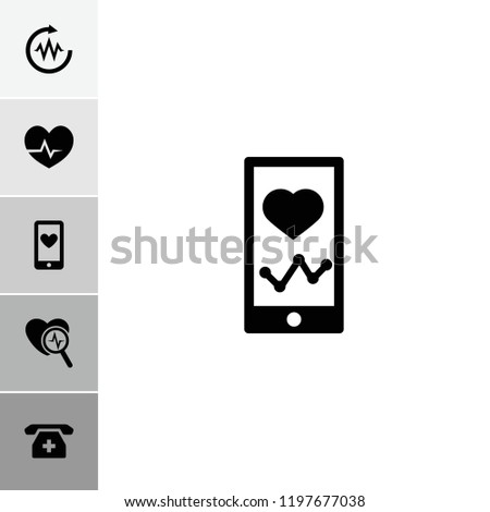 Cardiogram icon. collection of 6 cardiogram filled icons such as heartbeat on phone, medical phone, heartbeat. editable cardiogram icons for web and mobile.