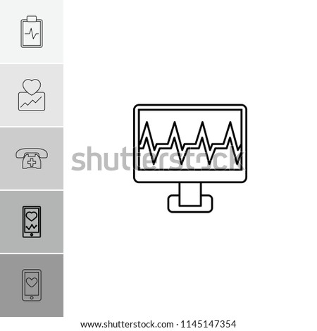 Cardiogram icon. collection of 6 cardiogram outline icons such as heartbeat on phone, heartbeat, heartbeat clipboard. editable cardiogram icons for web and mobile.