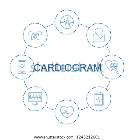 cardiogram icons. Set of 8 line cardiogram icons included heartbeat, medical phone, heartbeat clipboard on circle background. Editable cardiogram icons for web, mobile and infographics.