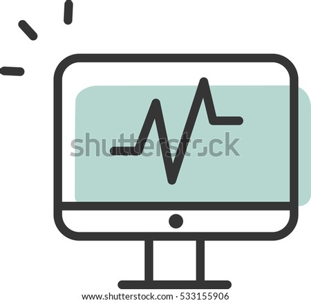 cardiogram of computer vector icon
