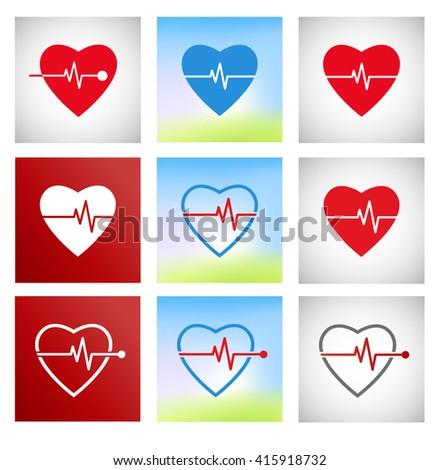 Cardiogram vector icons set. Heart cardiogram pulse.