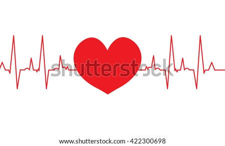 cardiogram vector love heart on a white background, isolated