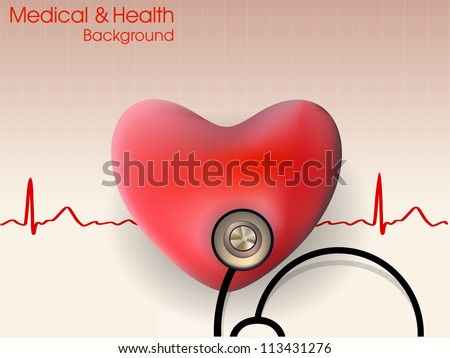 Cardiogram with red heart and stethoscope. EPS 10.