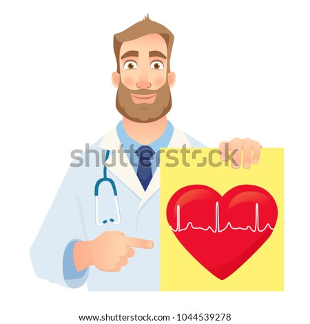 Cardiologist holding banner. Medical test. Medical stethoscope and red heart with cardiogram. Vector illustration