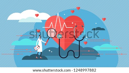 Cardiologist vector illustration. Mini person concept with heart health job. Doctor with stethoscope check patient heartbeat and pulse. Professional medic analyzing cardiovascular measurement results.