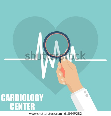 Cardiology center. Doctor hand holding a magnifying glass for heartbeat