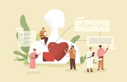 Cardiology concept. Cardiologists checking up heart of patient. Medical diagnostics of human cardio diseases. Examination and treatment of cardiovascular system. Colored flat vector illustration