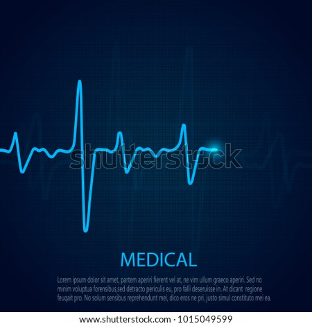 Cardiology concept with pulse rate diagram. Medical background with heart cardiogram.