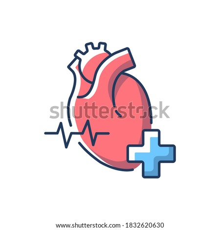 Cardiology department RGB color icon. Cardiologist. Cardiology consultant. Heart disease treatment. Medical diagnosis. Cardiac surgeon. Hospital department. Isolated vector illustration Photo stock ©