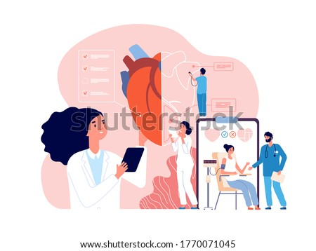 Cardiology. Health heart check up, cardiologists and cardiovascular pressure. Transplantation research, hypertensive disease vector concept Foto stock ©