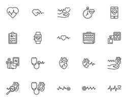 Cardiology line icons set. Heart rate linear style symbols collection, outline signs pack. Medical healthcare vector graphics. Set includes icons as heart attack, ecg, heartbeat pulse, defibrillator