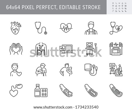 Cardiology line icons. Vector illustration included icon as heart attack, ecg, doctor, pacemaker, defibrillator outline pictogram for cardiovascular clinic. 64x64 Pixel Perfect Editable Stroke.