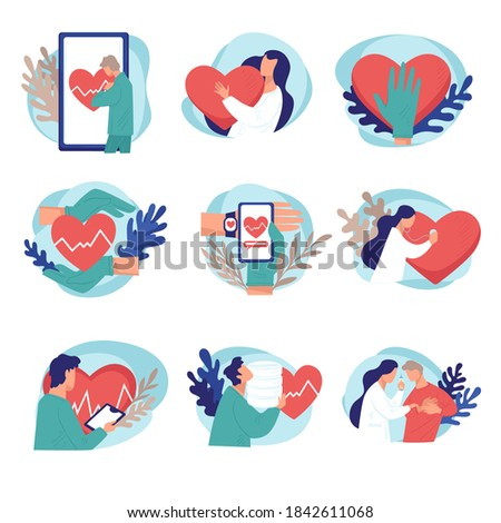 Cardiology treatment and checkup, isolated set of doctors and diagnostics of heat rate and beating. Examination of health online, consultation in internet using app and gadgets, vector in flat Foto stock ©