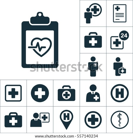 cardiology wave monitor blank icon, medical signs set on white background