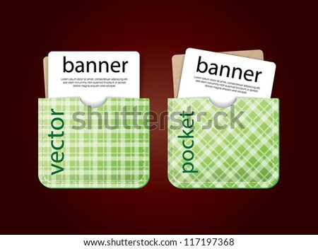 Cards in pockets. Vector banners with cardboard / old paper and green tartan textures