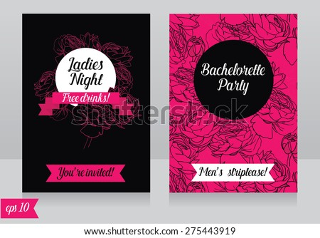 Cards Template For Ladies Bachelorette Party, Vector Illustration