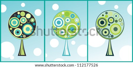 Cards with abstract circle trees. green and blue colors