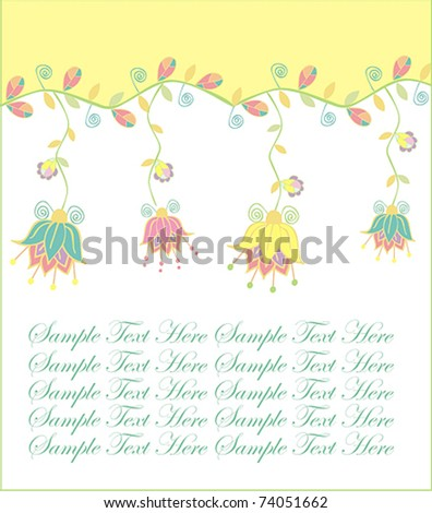 cards with hanging flowers