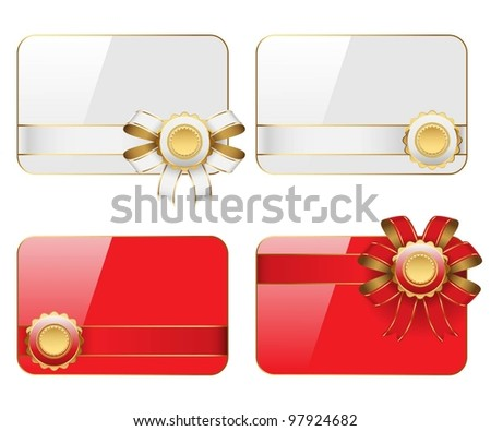 Cards with ribbons isolated on white background. Vector.