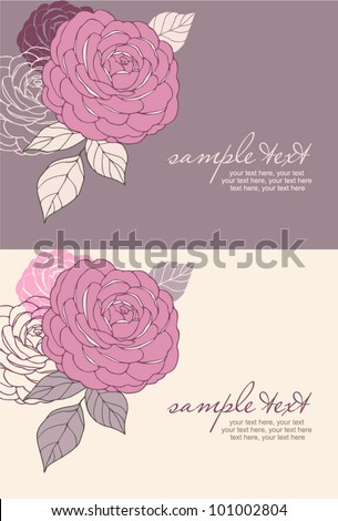 cards with vector stylized rose and text