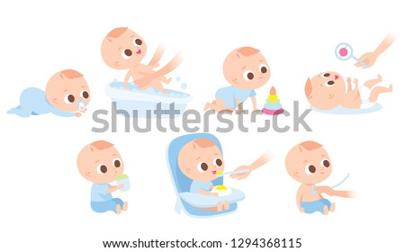 Care about infant baby. Set of baby  characters.