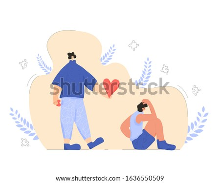 Care and kindness in theraphy. Character with love symbols try to help person with some mental issues. Vector flat cartoon illustration. Foto stock ©