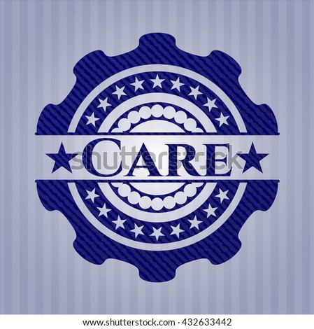 Care badge with denim background