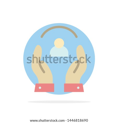 Care, Caring, Human, People, Protection Abstract Circle Background Flat color Icon