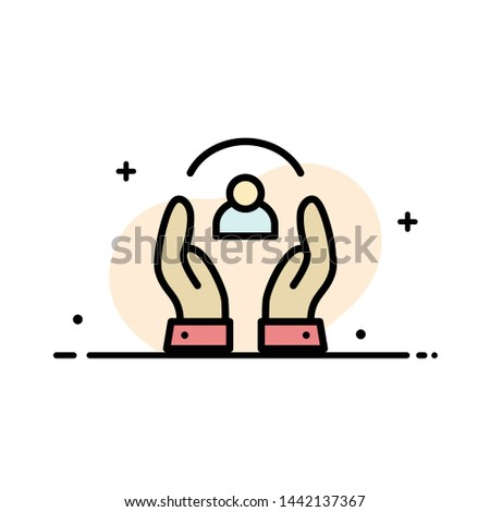 Care, Caring, Human, People, Protection  Business Flat Line Filled Icon Vector Banner Template