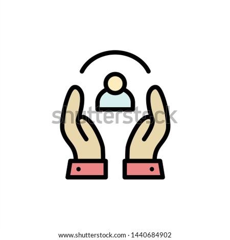 Care, Caring, Human, People, Protection  Flat Color Icon. Vector icon banner Template