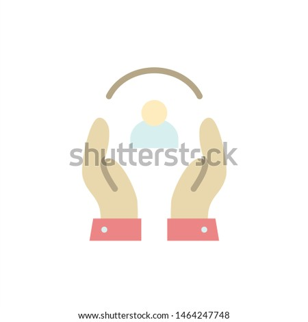 Care, Caring, Human, People, Protection  Flat Color Icon. Vector icon banner Template. Vector Icon Template background