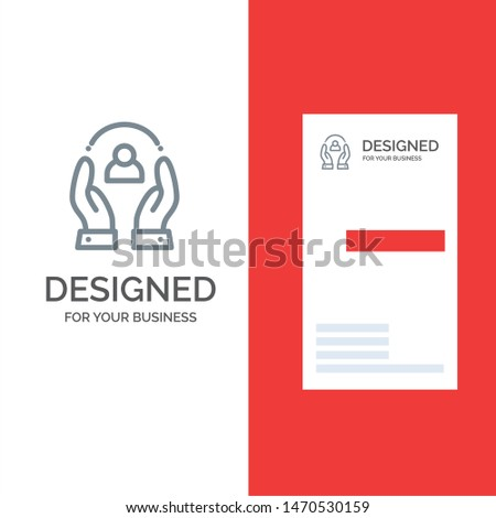 Care, Caring, Human, People, Protection Grey Logo Design and Business Card Template. Vector Icon Template background