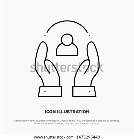 Care, Caring, Human, People, Protection Line Icon Vector