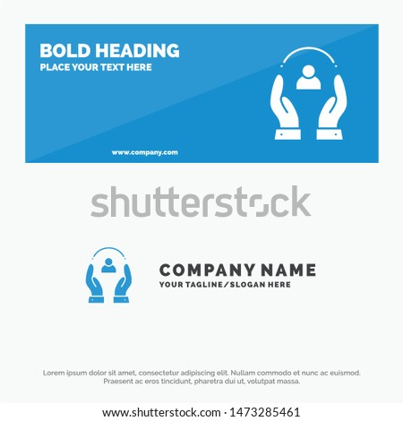 Care, Caring, Human, People, Protection SOlid Icon Website Banner and Business Logo Template