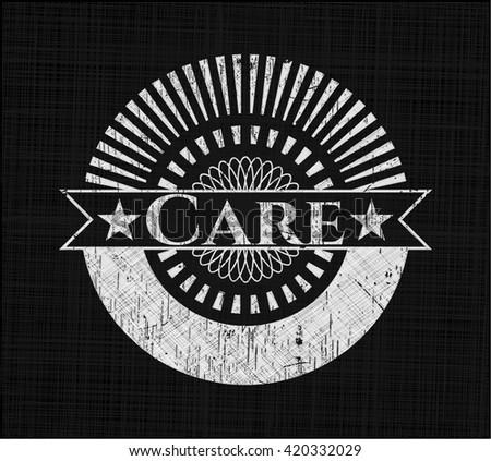Care chalkboard emblem written on a blackboard