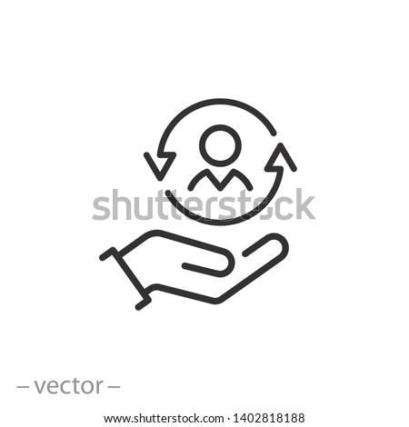care customer icon, total inclusive service, line symbol on white background - editable stroke vector illustration eps10 Stockfoto ©