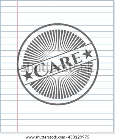 Care emblem draw with pencil effect