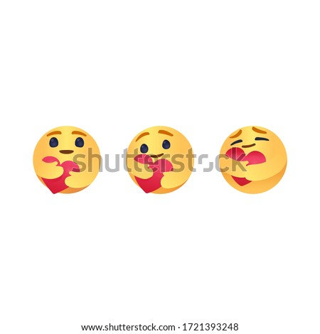 Care Emoji Popular Social Media New care emoji  We are in this together design isolated vector yellow care transparent file cartoon hugging heart love design for use in chat, email, massage