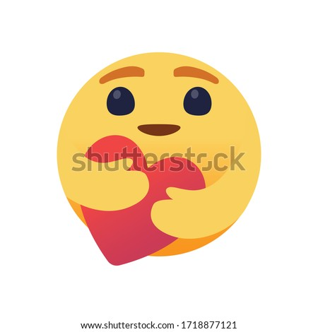 Care emoji with large big eyes hugging a heart with both hands. Symbol of care and support, show love for loved ones who are a long distance.