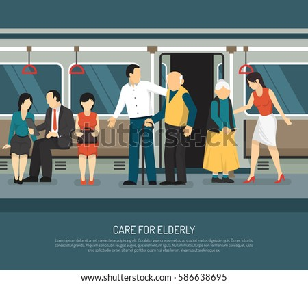 Care for elderly scene in subway car  with young man and woman helping old passengers vector illustration