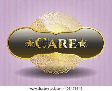 Care gold badge or emblem