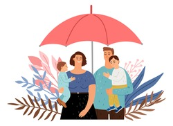 Care of your family. People protection, cute parents with children under umbrella. Insurance vector concept