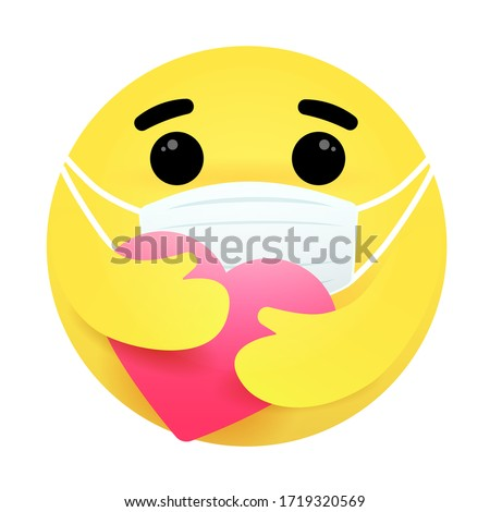 Care reaction emoji wearing face masks. Emoticon face embracing the heart to show care during the COVID-19 and PM2.5 pandemic. Face masks emoticon. Protection symbol.