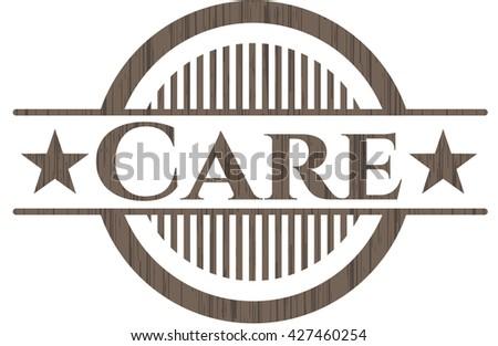 Care wood icon or emblem