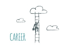 Career. A man climbs the ladder to the cloud. Vector business concept sketch.