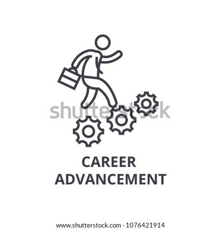 career advancement thin line icon, sign, symbol, illustation, linear concept, vector