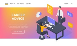 Career advice landing page banner template. Office employees working in company. Man with briefcase standing and woman sitting at desk and browsing data on computer representing employment in company