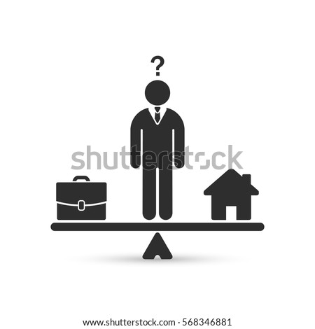 Career and family are on the scales. Home and business scales icon. Weight between work, money and your family. Balance your life business concept. Vector.
