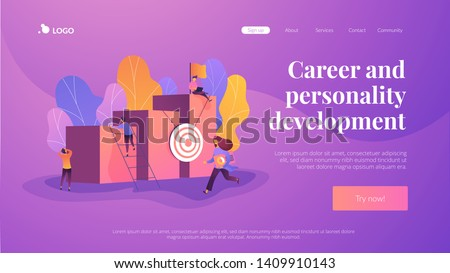 Career and personality development, career builder, career planning progress concept on white background. Website interface UI template. Landing web page with infographic concept creative hero header